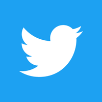 Twitter logo of white bird on blue square