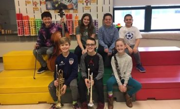 Seven student musicians from Huth Road