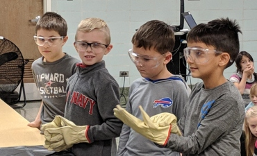 Students wearing safety goggles