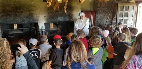 Students listen to Fort Niagara guide