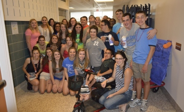 Yearbook students gathered in hallway